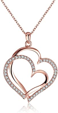 Fashion Womens Jewelry Charms Rhinestone Musical Note Pendant Chain Rose Gold Plated Necklace