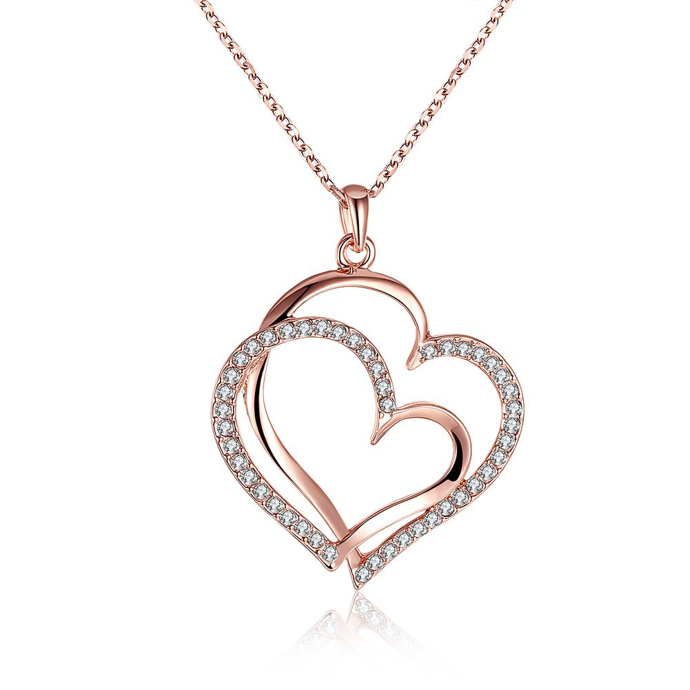 FJYOURIA Women s Rose Gold Double Heart Necklace Bling Jewellery Infinity Love  Gold Plated Cubic Zirconia Gem Set Pendant Necklace Gifts Present for Girls 0717a89b5