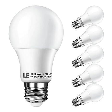 LE Bombillas LED 10W=60W Incandescente Blanco cálido 2700K, E27 A60, Pack de