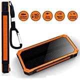 Aonivov Solar Charger 15000mAh Portable Power Bank with Dual USB Ports Solar Phone Charger for iPhone iPad Cell Phones Tablets,Emergency Backup Battery with Flashlight