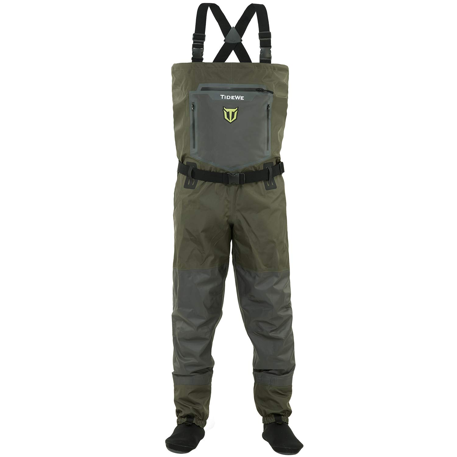 TideWe Breathable Waders Waterproof Stockingfoot Chest Waders with Zippered Pockets Lightweight Fly Fishing Waders for Men and Women