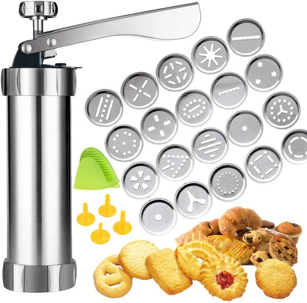 Cookie Press,Spritz Cookie Press Gun Kit, DIY Biscuit maker and Churro Maker with 20 Decorative Stencil Discs and 4 Icing Tips AND Oven gloves for Funny Kitchen-By ZZmx