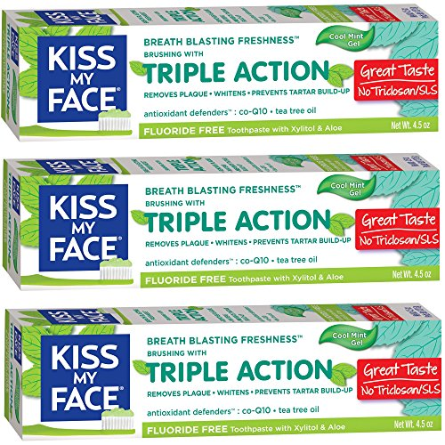 Kiss My Face Triple Action Gel Fluoride Free Toothpaste, 4.5 Ounce, 3 Count