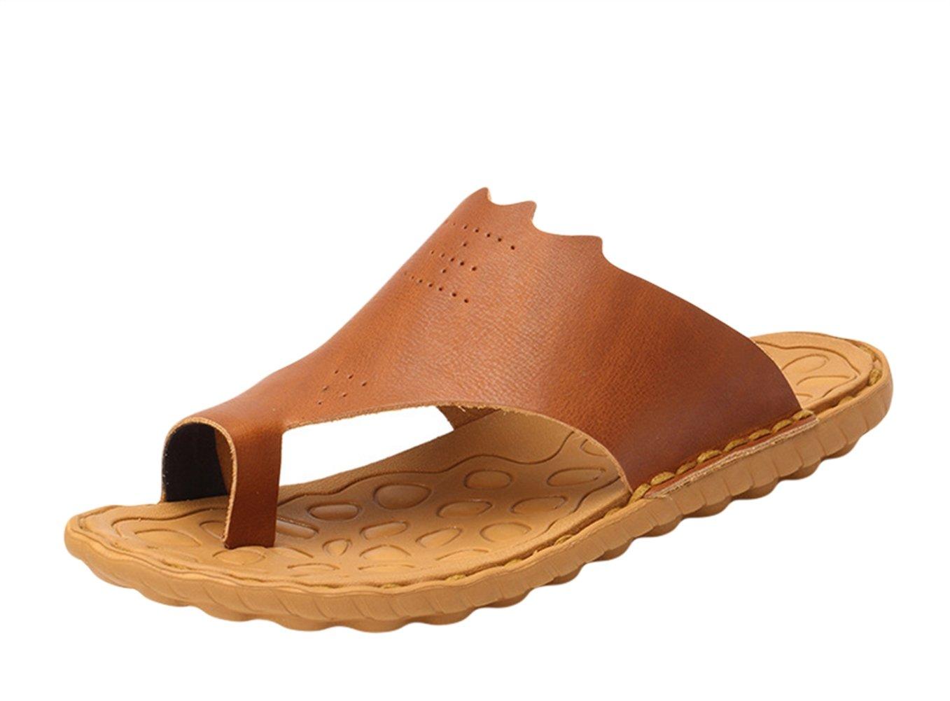 Insun Hombres Sandalias Chanclas Cuero Zapatos Al Aire Libre 40 EU|Marrón