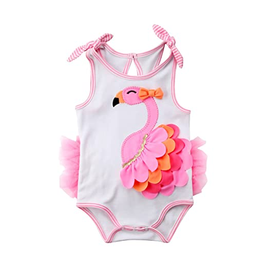 54fa80e609e Newborn Baby Girl 3D Lace Flamingo Romper Bodysuit Jumpsuit One-Piece  Clothes (White Pink