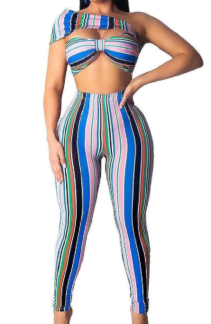 BU2H Women Wrap Irregular Crop Top Sleeveless Striped Track Suit Sport Suit Set