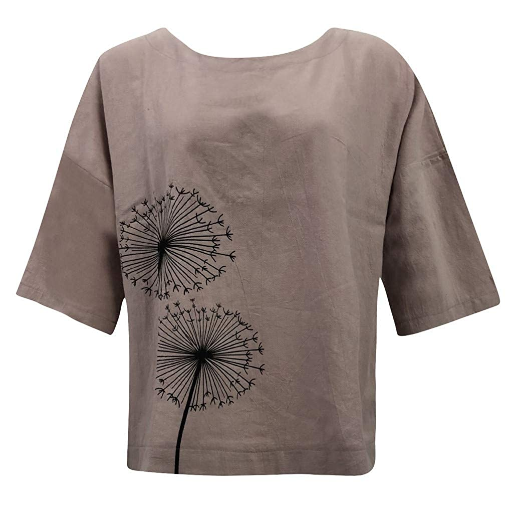 OTINICE Women Cotton and Linen Tops Summer Casual Plus Size Loose T-Shirt Long Sleeve Beach Shirts