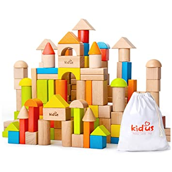 Kaja Classic Wooden Building Blocks Sets 80 Pcs Blocks For Toddlers Educational Preschool Learning Toys With Carrying Bag Colorful