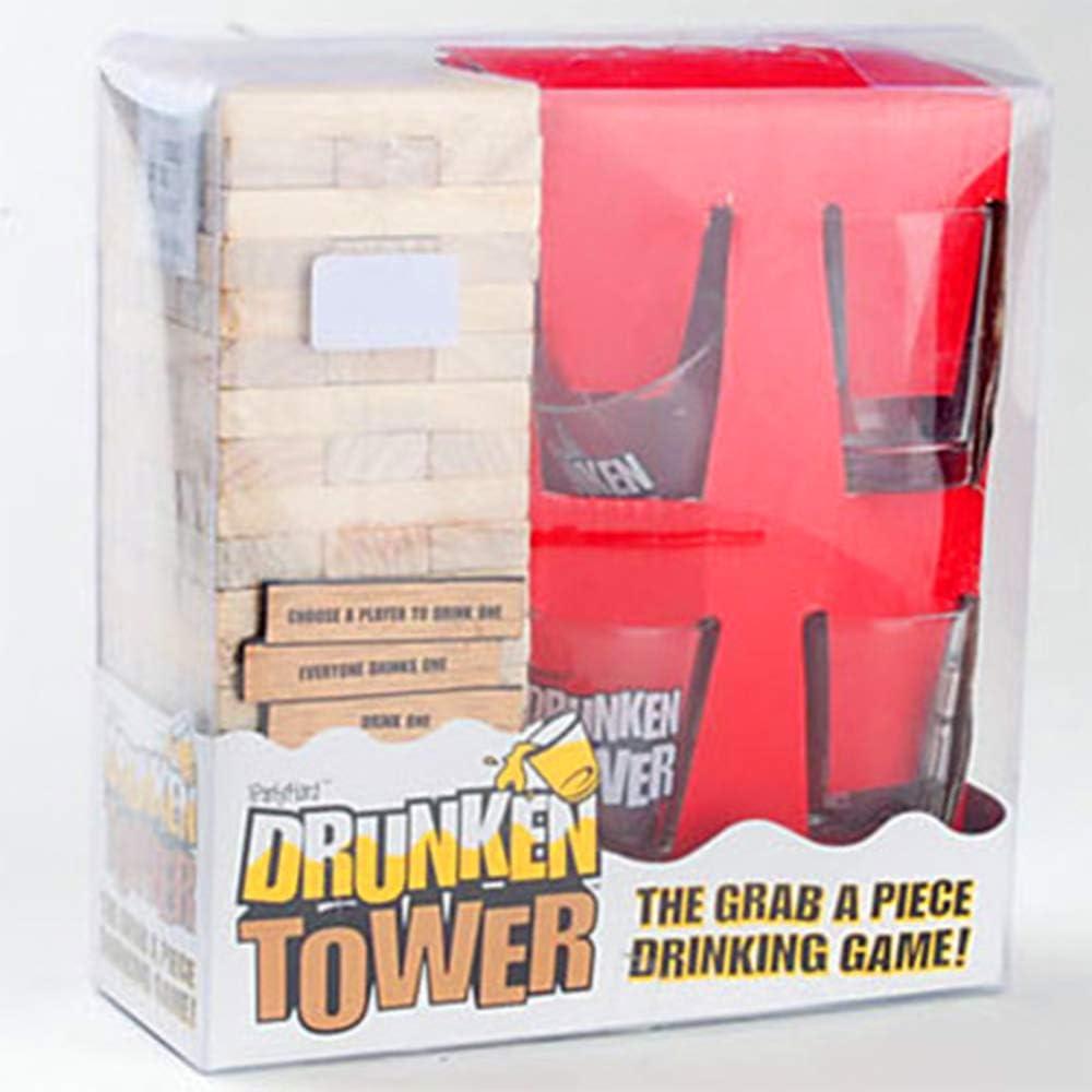 Mmyunx Tipsy Torre Bebiendo Juego Set 4 Vasos de Tiro y 60 Piezas de Madera una Torre de la diversión! El último Juego de Fiesta para Adultos: Amazon.es: Deportes y aire libre
