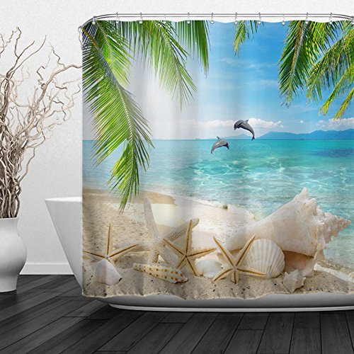 "Alfalfa Home Bathroom Decorative Polyester Fabric Ocean Beach Theme Shower Curtain with Hooks, Waterproof, Mildew Resistant 60"" W x 72"" H (150CM x 180CM) - Dolphins Shells"