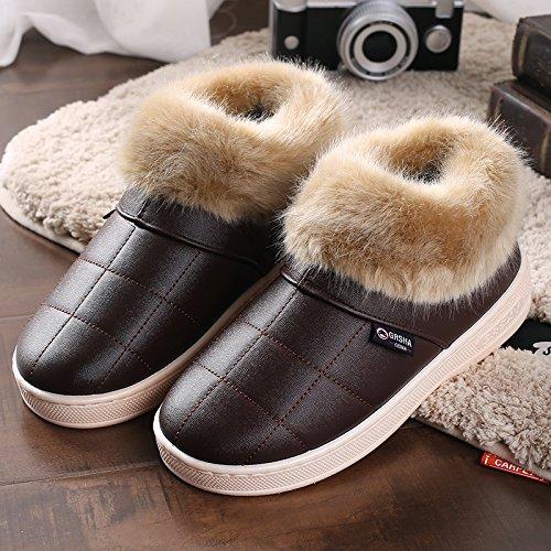 Y-Hui invierno zapatillas de algodón con bolsa de cuero zapatillas zapatillas al final del invierno, el viejo hombre grueso Zapatos impermeables Coffee