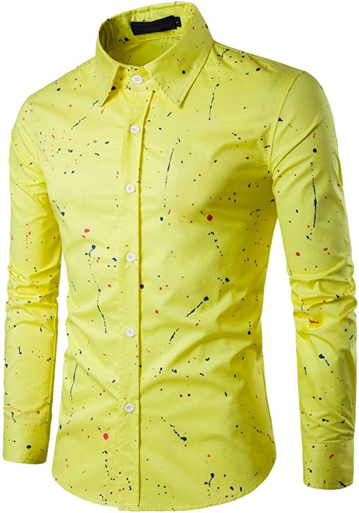 Culater® Camisas Hombre Manga Larga, Moda Fashion Slim Fit Casual Long Sleeves Shirts (XS, Amarillo): Amazon.es: Ropa y accesorios