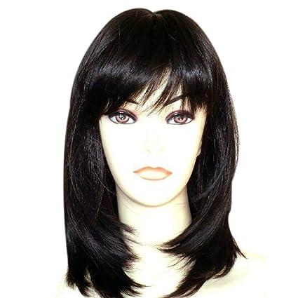 Kalyss: peluca corte de largo medio color negro para mujer.