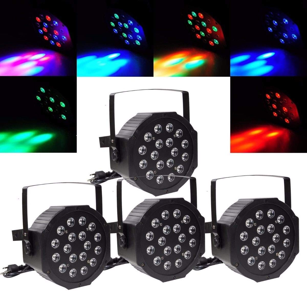 Youtree 18 LED RGB PAR CAN DJ Stage DMX Lighting for Disco Party Wedding Uplighting Light (Size : 4 Pack)