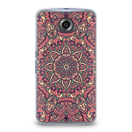 Case for Nexus 6, CasesByLorraine Pink Mandala Floral Pattern Plastic Hard Cover for Motorola Google Nexus 6 (N15-1) (Nexus 6 Case Pattern)