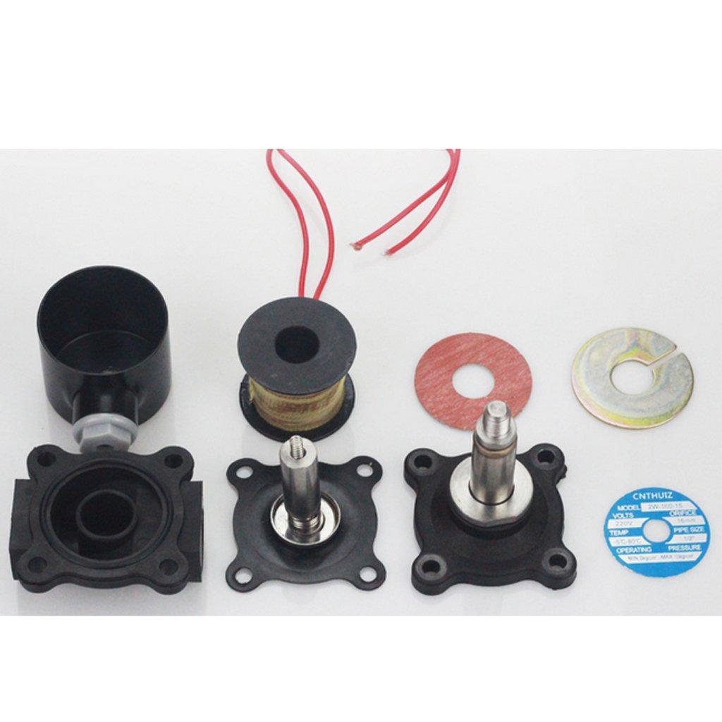 MagiDeal Kunststoff Elektrisches Magnetventil F/ür Wasser Luft /Öl Brennstoffe Normally Geschlossen 32mm DC12V