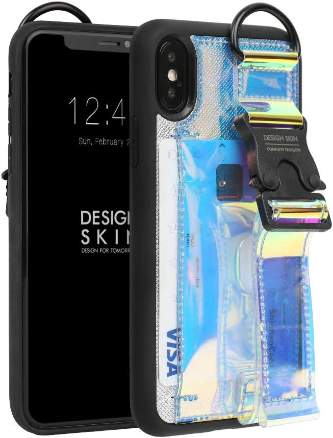 Design Skin iPhone X/XS Case, Buckle Strap Case, Slim Credit Card Holder with Adjustable Hand Strap for Extra Grip and Kickstand, Card Case for iPhone X/XS - Hologram