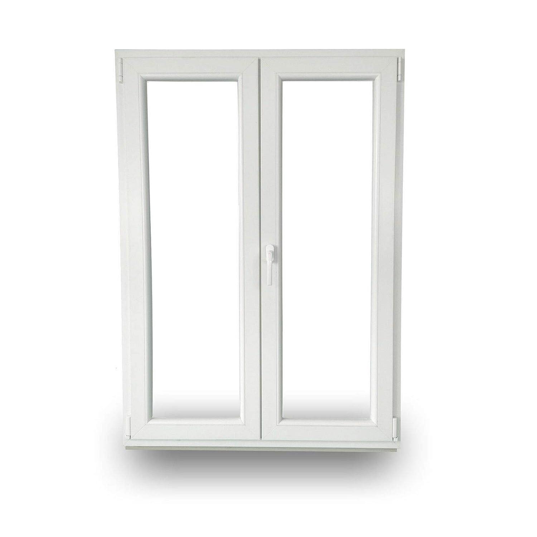 Dreh-Kipp Rechts 2-Fl/ügelig 2-Fach-Verglasung 60mm Bautiefe JeCo Kunststofft/ür Balkont/ür Stulpt/ür BxH: 1500x1900mm Dreh Links