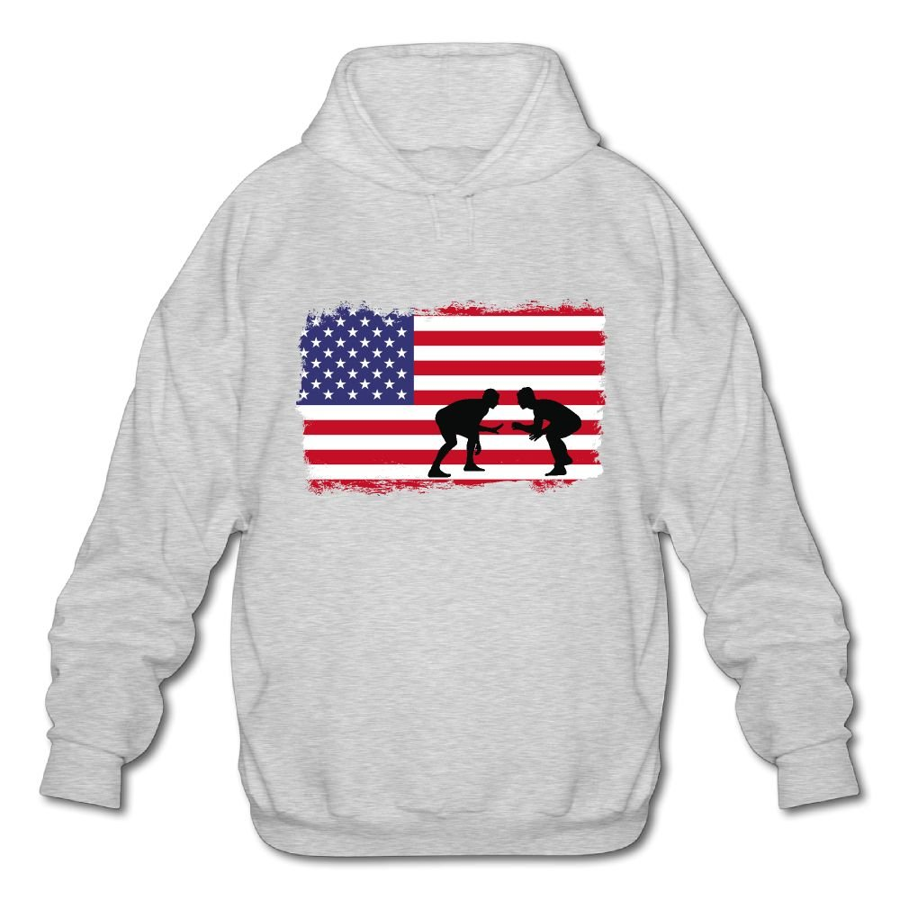 American Flag Wrestling Mens Cotton Fashion Durable Vintage Warm Fall/Winter Casual Pullover