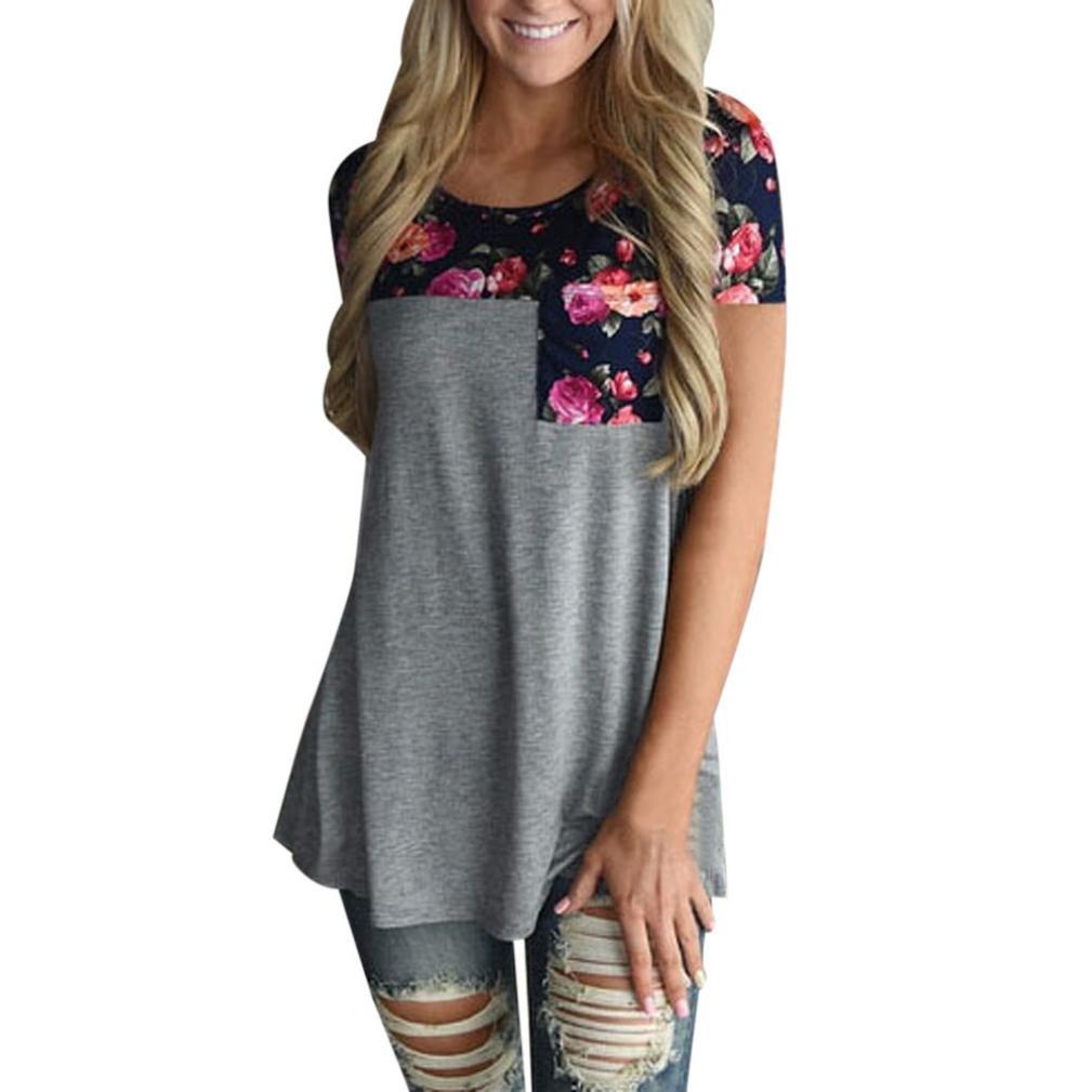 TOOPOOT Womens Floral Print Long T-shirts Tops with Pocket … (L, dark gray)