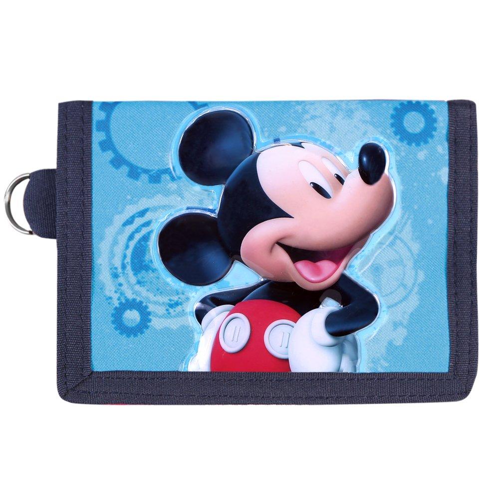 Cartera de Niño Disney Mickey Mouse - Monedero con estampado frontal Ratón Mickey - Billetera roja y azul con llavero - La casa de Mickey Mouse - Perletti - 10x13, 5 cm 13002