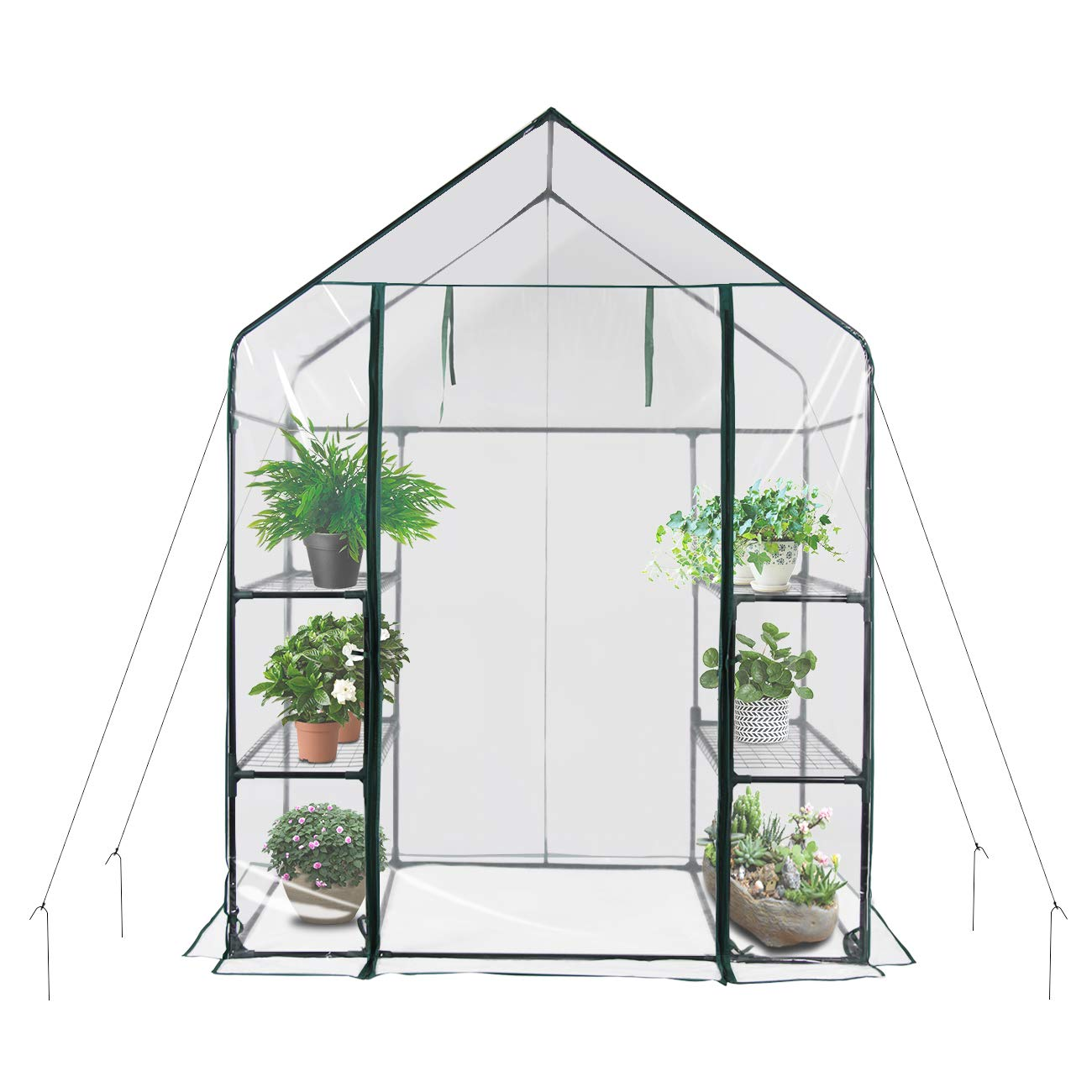 New Mini Walk-in Greenhouse Portable Flower Garden, With Clear PVC Cover, Strong Metal Frame, 3 Tiers 6 Shelves, Size 56''W x 29''D x 77''H by Yijin