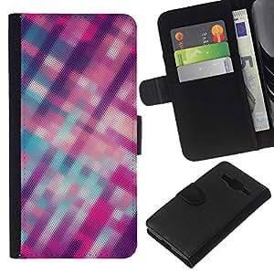 WINCASE Cuadro Funda Voltear Cuero Ranura Tarjetas TPU Carcasas Protectora Cover Case Para Samsung Galaxy Core Prime - rayas borrosas patrón púrpura rosada