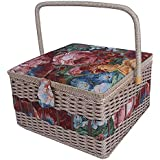 """SAXTX Crafts Sewing Storage Box Containers Extra Large Double Layer with Tray,Handmade Embroidery Sewing Basket with Multiple Compartments
