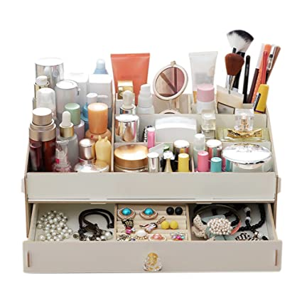 De madera cajas de almacenaje, cajas de cosméticos Large DIY caja para maquillaje suministros joyería