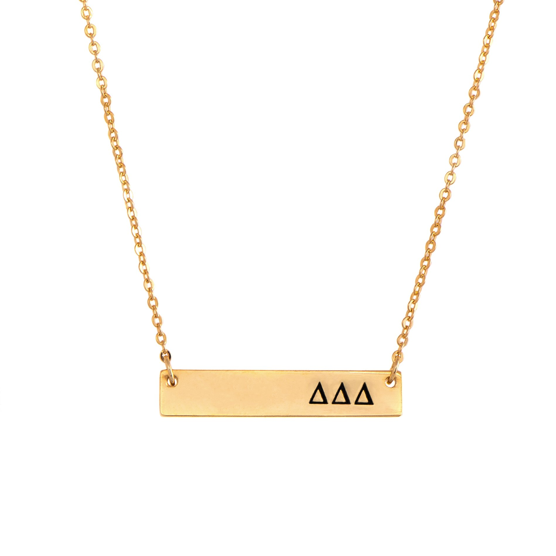 Delta Delta Delta Tri-Delt 24K Gold Plated Horizontal Bar Necklace Greek Sorority Letter with Adjustable Chain