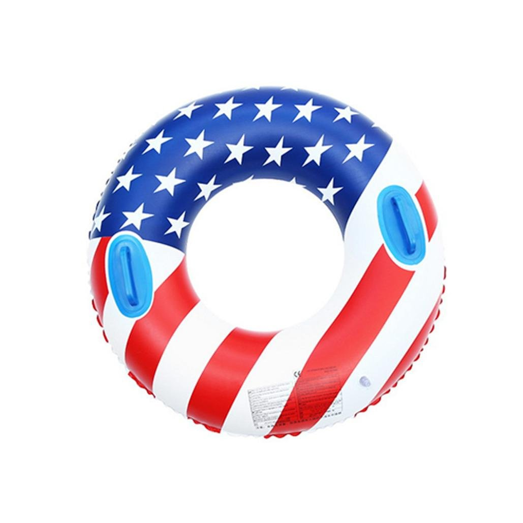 Boofab Inflatable Swim Ring Pool Float with integrated built-in Inflator Inflatable US Flag Swim Ring Simply Adult Fruit Swim Ring pool-party Water Fun(latest hottest) (80cm)
