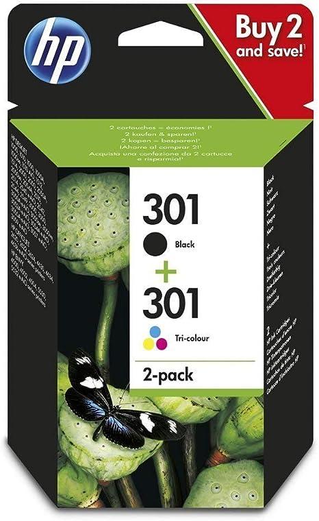 HP 301 N9J72AE, Pack de 2, Cartuchos de Tinta Originales Negro y Tricolor, compatible con impresoras de inyección de tinta HP DeskJet 1050, 2540, 3050;OfficeJet 2620 ...