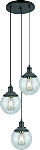 Addington Park 31776 Libertad Collection 3-Light Tiered Glass Globe Pendant, Dark Bronze Finish and Antique Brass Socket