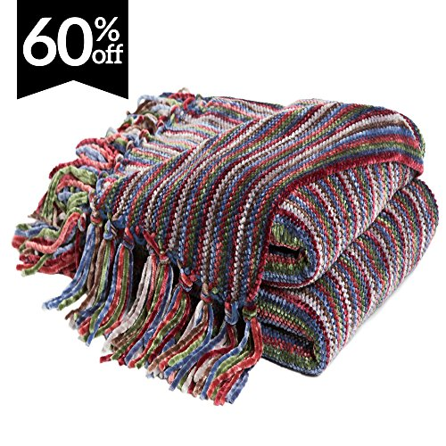 """Bedsure Chenille Knitted Throw Blankets with Tassels, Decorative Woven Throw and Blankets for Sofa/Couch, Super Soft & Warm Striped Green/Red Bohemian Style Blanket Throw 50""""x60"""""""