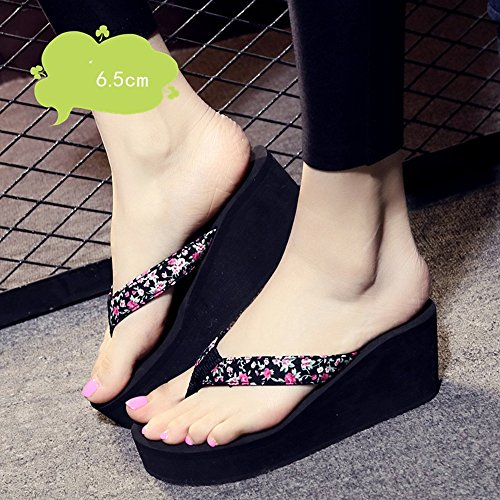 Mujeres Señoras Sandalias 6.5cm zapatos de tacón alto de verano femenino antideslizante zapatos sandalias (negro / beige / azul / marrón) Cómodo ( Color : Beige , Tamaño : 40 ) Negro