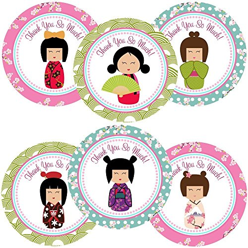 - Kimono Kokeshi Girl Thank You Sticker Labels - Set of 30