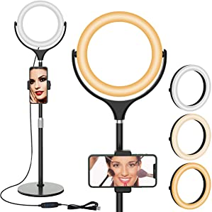 Selfie Ring Light with Stand - 360° Rotatable Ring Light with Height Adjustable Metal Stand and Phone Holder for Makeup Live Stream Video Photography TikTok YouTube Vlogging