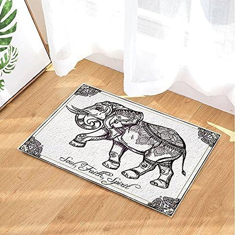 NYMB Indian Style Elephant Painting Stands for Soul Faith Spirit Bath Rugs, Non-Slip Doormat Floor Entryways Outdoor Indoor Front Door Mat, Kids Bath Mat, 15.7x23.6in, Bathroom Accessories (Elephant Floor Rug)