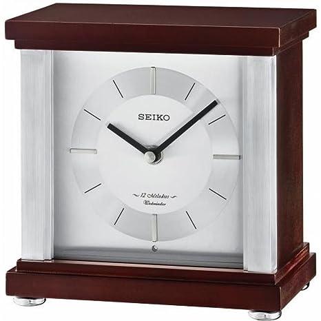 Seiko 12 Melodías Campanillas de la Westminster Reloj de Mesa de Madera, Madera, marrón