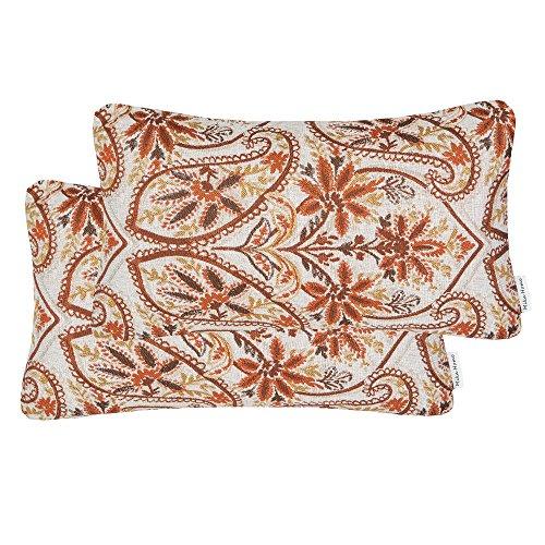 Mika Home Pack of 2 Oblong Throw Pillow Covers Lumbar Waist Pillow Cases,Flower Pattern,12x20 Inches,Rust Gold (Oblong Flower)
