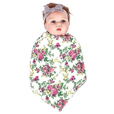 Ufraky Newborn Infant Baby Boy Girl Swaddle Blanket Bownot Headband Set, Receiving Blankets