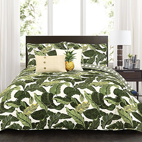 Lush Decor Green Tropical Paradise Quilt-Leaf Palm Rainforest Reversible 5 Piece Bedding Set-Full Queen (Queen Tropical Bedding Sets)