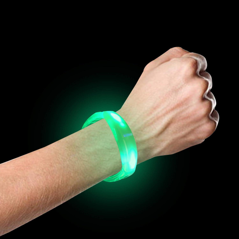 Fun Central I474, 12 Pcs Green LED Bangle Bracelet, Flashing Bracelet, Glow Party Bracelet, Light Up Bracelet for St. Patricks Day, Night Party, Concert, Rave Party Light Up Bracelet for St. Patrick/'s Day
