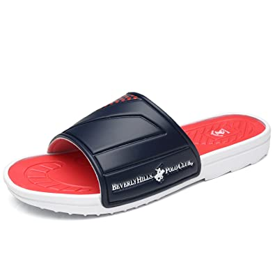 46cc383a5 Beverly Hills Polo Club Men s Slide Sandal Slip On Comfortable Shower Beach  Shoe Flip Flop Platform