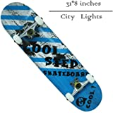 """Pro Skateboard 31"""" X 8"""" Standard Skateboards Cruiser Complete Canadian Maple 8 Layers Double Kick Concave Skate Boards"""
