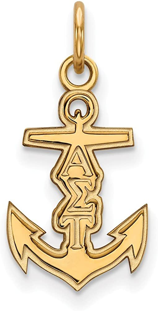 21mm x 11mm 925 Sterling Silver Yellow Gold-Plated Official Alpha Sigma Tau Extra Small Tiny Pendant Charm