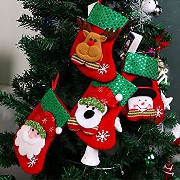 christmas decorations santa claus socks christmas tree pendants christmas ornament sockssequins felt - Amazon Christmas Tree Decorations