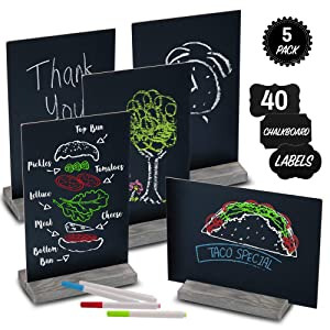 "Mini Chalk Board by East World - Double-Sided Chalkboard Sign for Wedding Decorations, Signs, Labels and More! Also Multi-Size 6x9"" or 9x6"" Blackboard! Set of 5 Small Tabletop Chalkboards with Stand"
