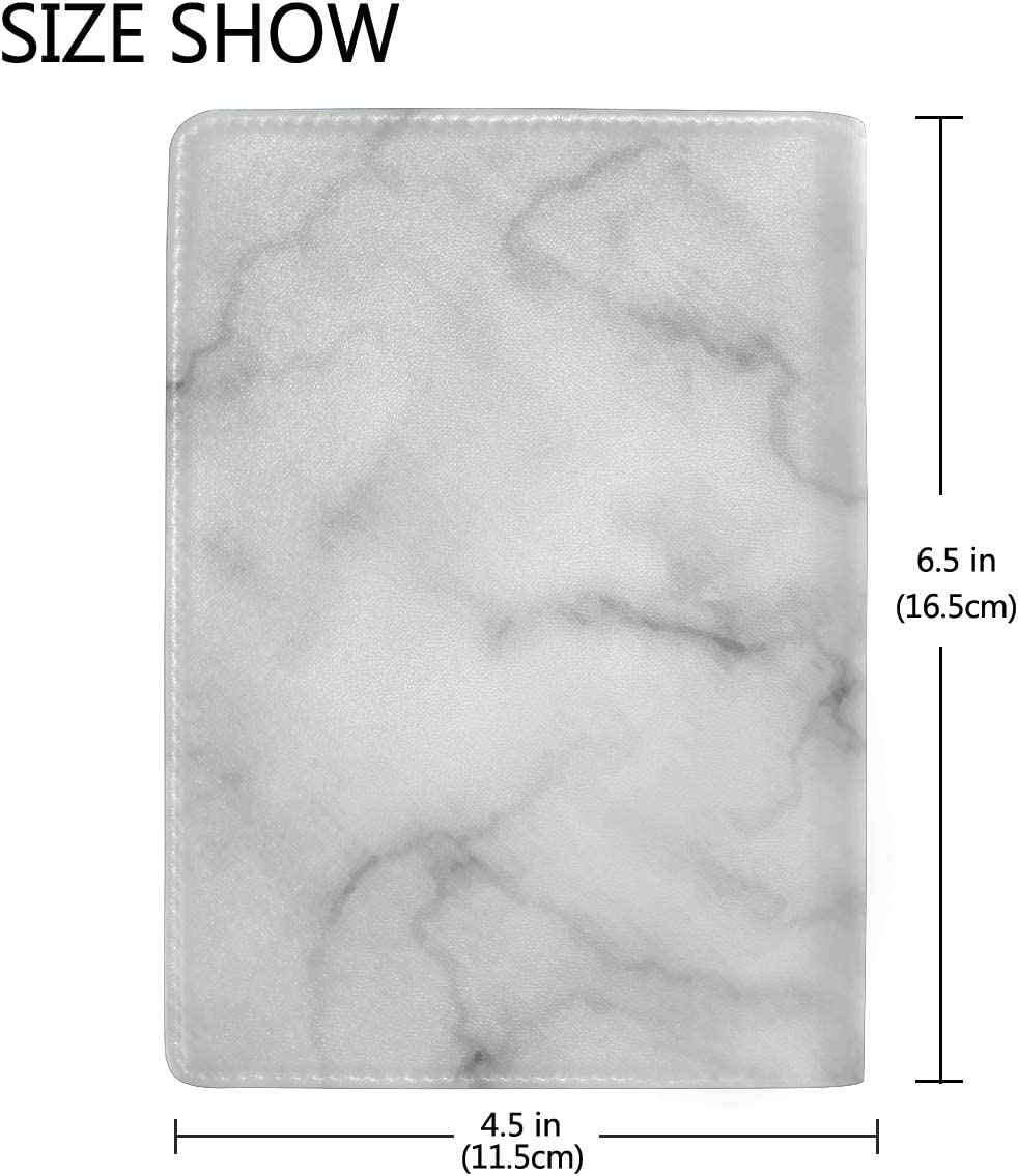 White Marble Rock Type Leather Passport Holder Cover Case Blocking Travel Wallet