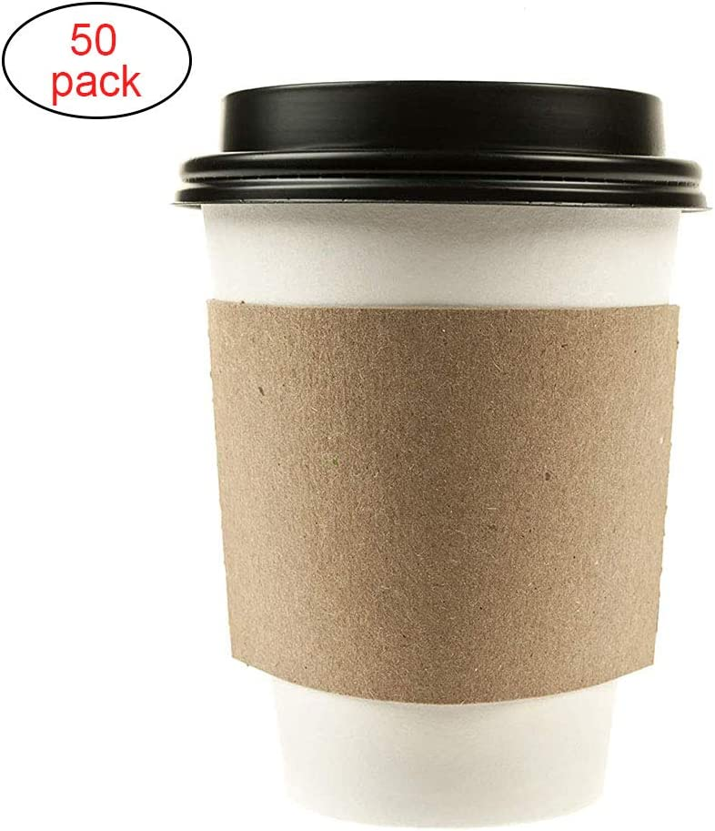 ZSLD 12 Oz Disposable White Paper, Coffee Cups with Black
